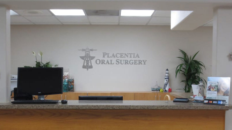 Reception area at Placentia Oral Surgery.
